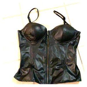 Black vinyl zip front bustier